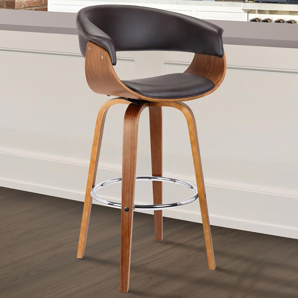 """Blue River Julyssa 30"""" Swivel Bar Stool in Brown Faux Leather and Walnut, , large"""