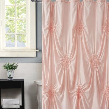 """Pem America Christian Siriano Georgia Rouched 72"""" Shower Curtain in Blush, , large"""