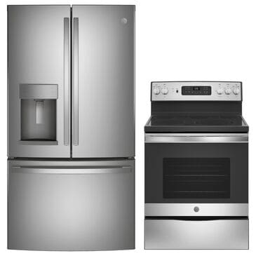 """GE Appliances 2-Piece Kitchen Package with 30"""" Electric Range in Fingerprint Stainless Steel, , large"""