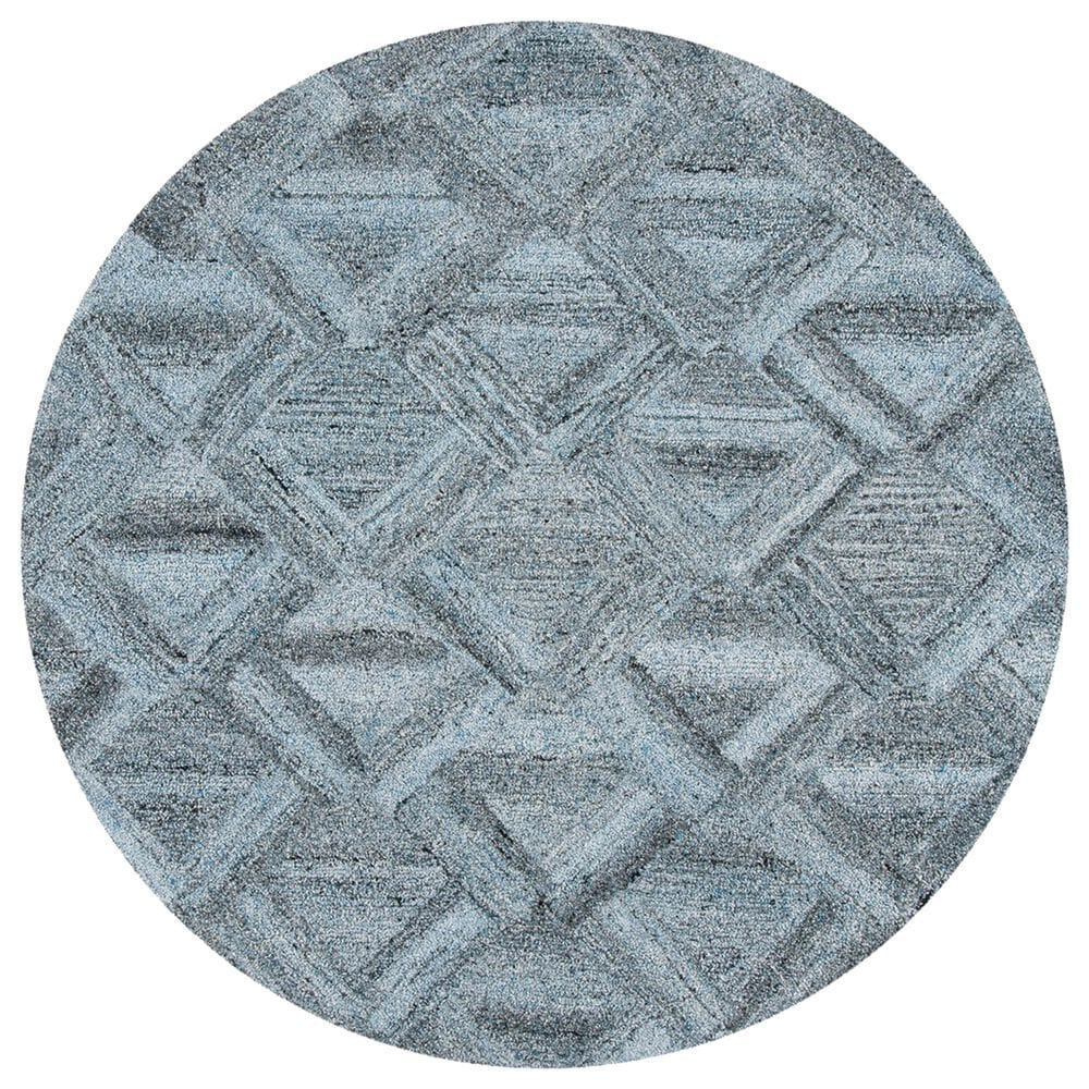 Safavieh Abstract 6' Round Blue and Black Area Rug, , large