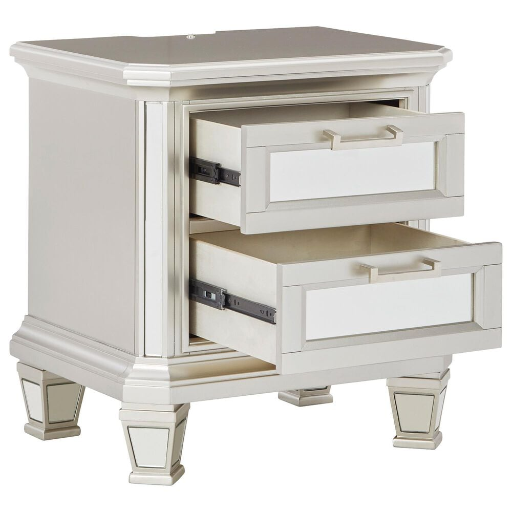 Signature Design by Ashley Lindenfield 2 Drawer Nightstand in Silver, , large