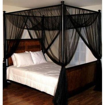 Epoch Hometex Palace Four Poster Bed Canopy in Black, , large