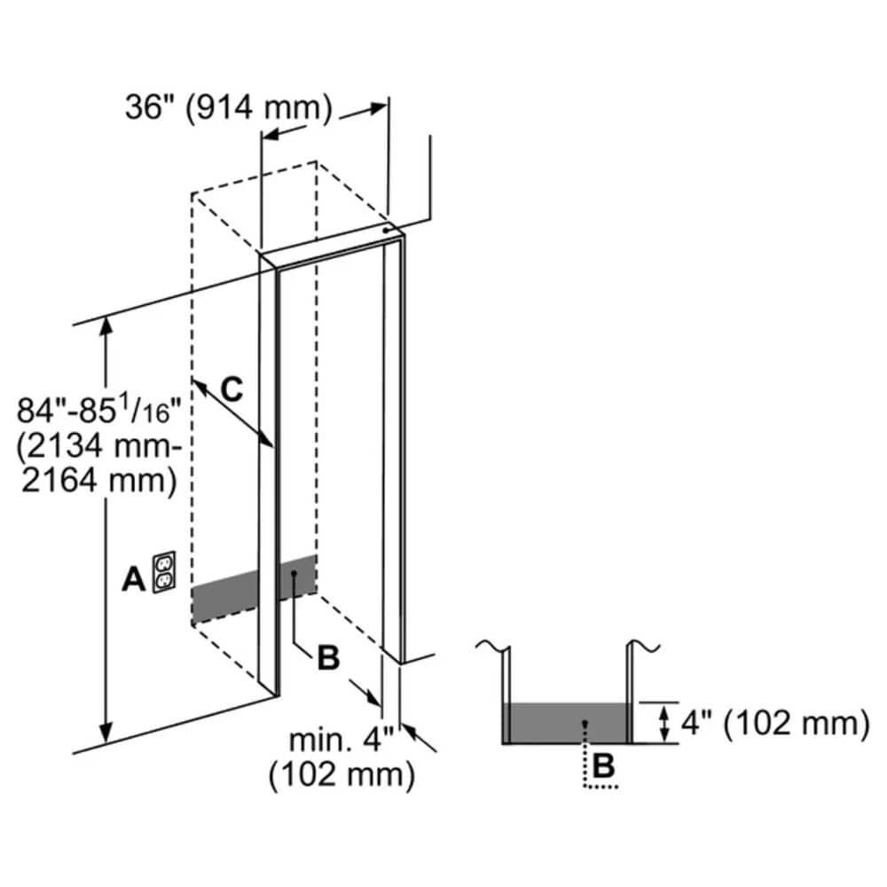"Bosch Benchmark 19.4 Cu. Ft. 36"" Built-in Bottom Freezer Refrigerator, , large"