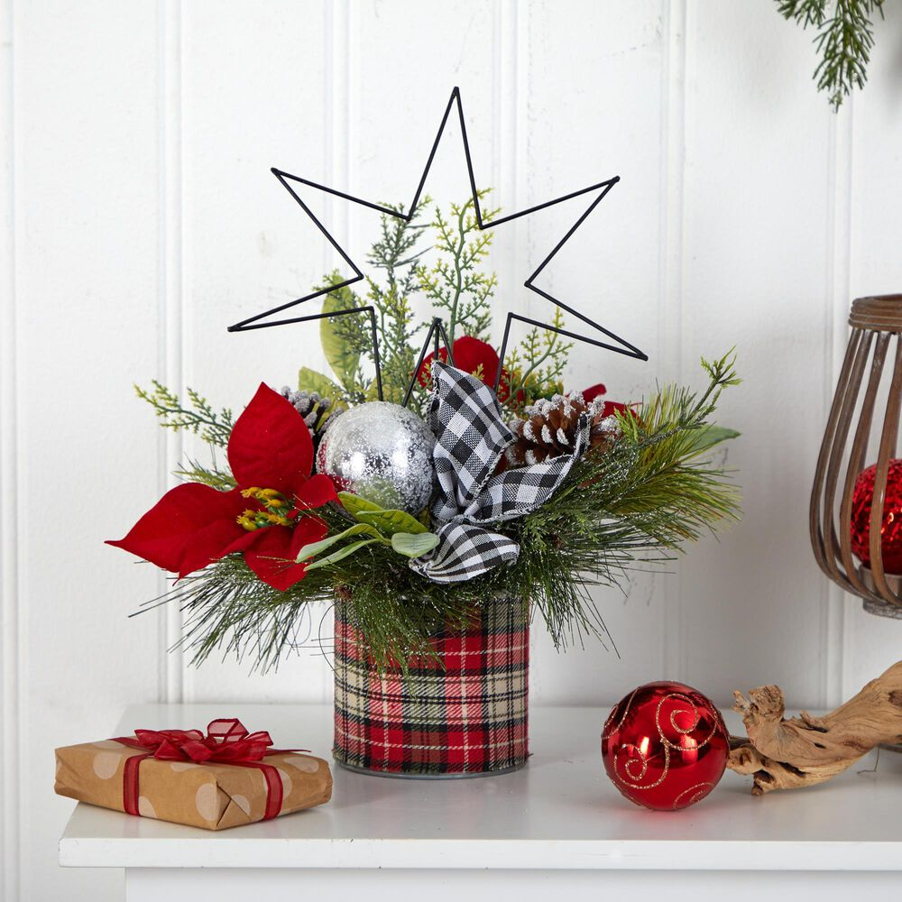 Nearly Natural Inc 17in. Holiday Winter Poinsettia, Greenery and Pinecones with North Star Plaid Table Christmas Artificial Arrangement, , large