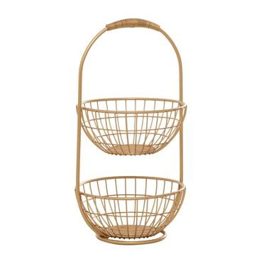 "Maple and Jade 20"" Traditional Metal Storage Basket in Gold, , large"
