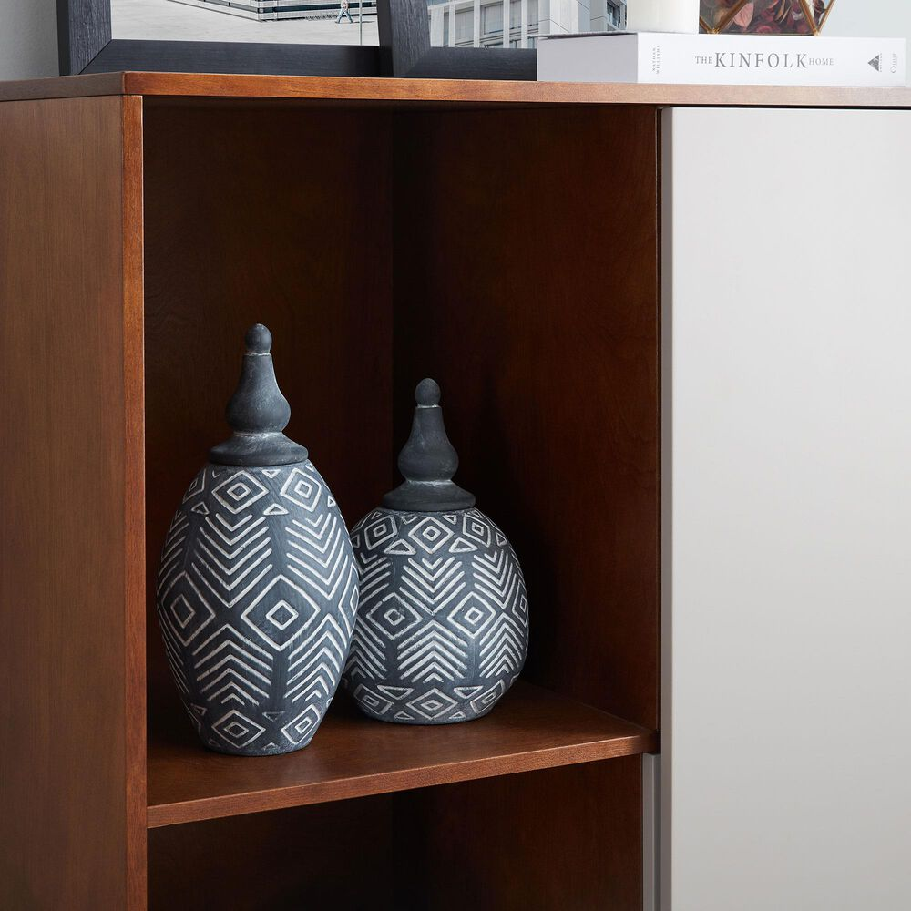 Southern Enterprises Hanzi Cabinet in Light Gray and Brown, , large
