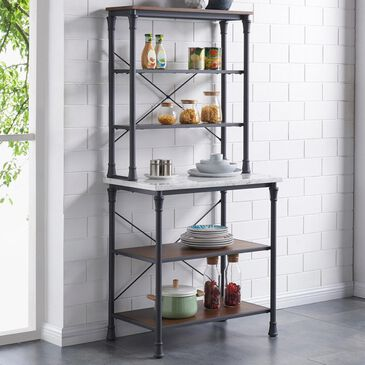 Southern Enterprises Pender Bakers Rack in Black Matte Black and Warm Tobacco with White Marble Shelf, , large