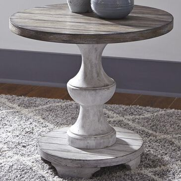 Belle Furnishings Sedona Round End Table in Antique White, , large