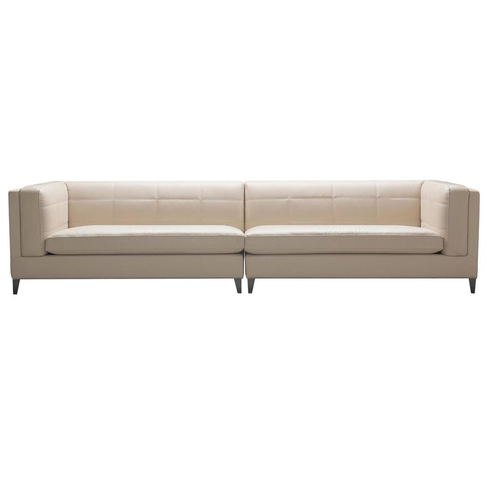 Jennifer Taylor Home JTH Luxe Esquire Top Grain Leather 4-Seater Sectional Sofa in Fawn Beige, , large