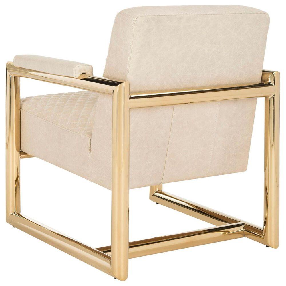 Safavieh Merlene Leather Arm Chair in Cream, , large