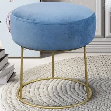 Tov Furniture Nina Velvet Stool in Blue, , large