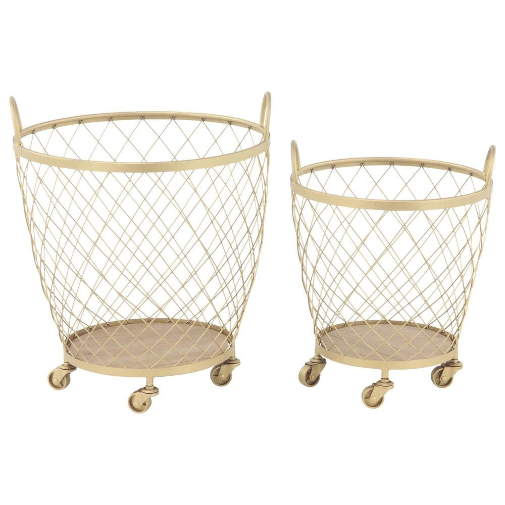 Maple and Jade Baskets in Gold (Set of 2), , large