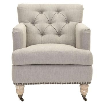 Safavieh Colin Tufted Club Chair W/ Brass Nail Heads in Stone / Grey, , large