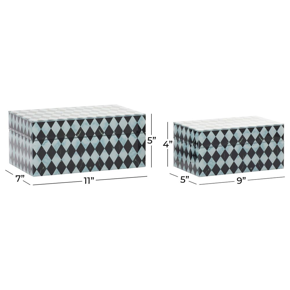CosmoLiving by Cosmopolitan Contemporary Wood Jewelry Box in Grey (Set of 2), , large