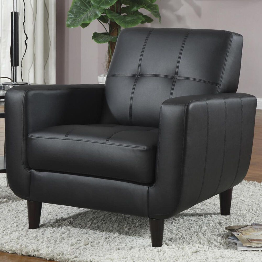 Living Essentials Contemporary Accent Chair with Track Arms in Black, , large