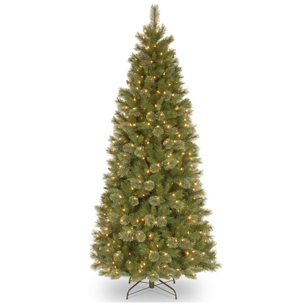"National Tree 7.5"" Tacoma Pine Slim Hinged Tree with 500 White Lights, , large"