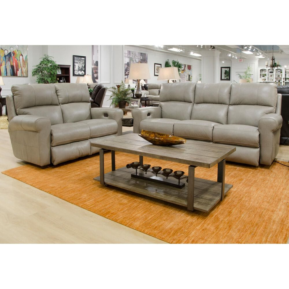 Hartsfield Torretta Leather Power Lay Flat Reclining Sofa in Putty, , large