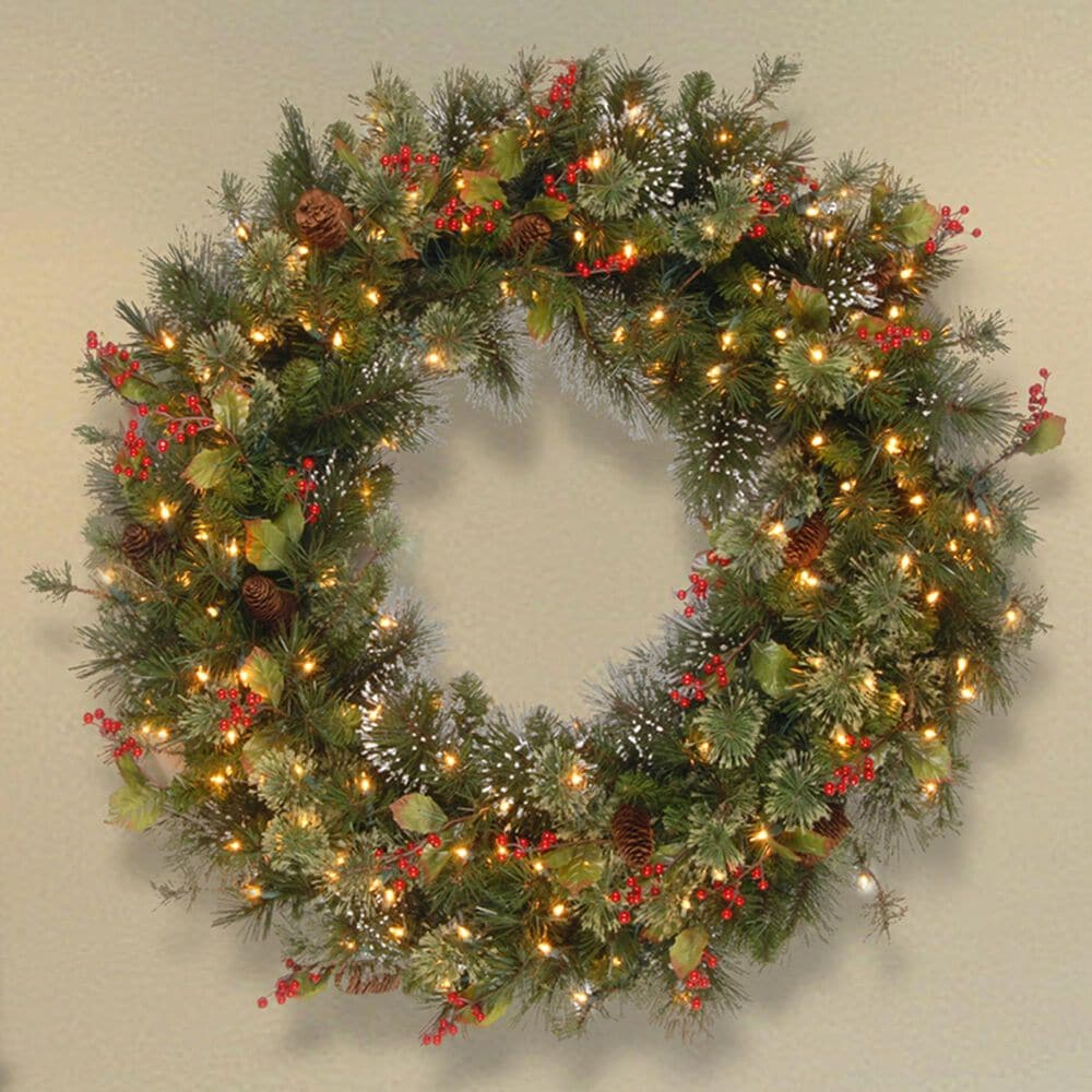 """National Tree 36"""" Wintry Pine Wreath with Cones, Red Berries, Snowflakes with White Lights, , large"""