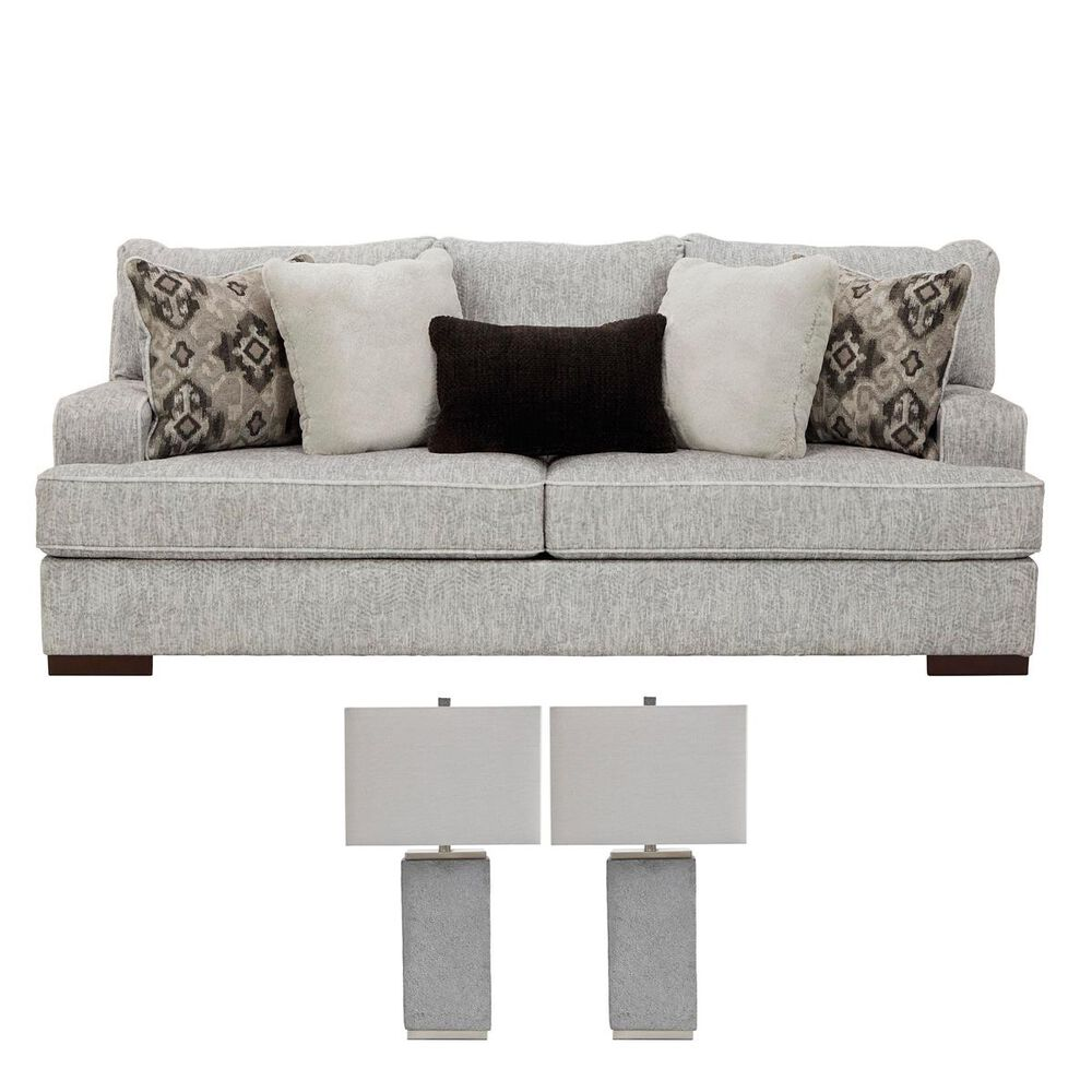 Signature Design by Ashley Sofa in Pewter and a Pair of Lamps Set, , large