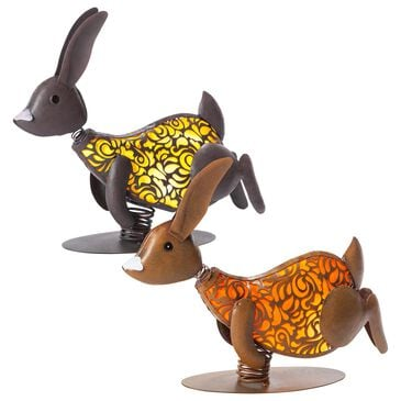 """The Gerson Company 14.37"""" Solar Lighted Garden Rabbits in Bronze, Coffee Brown and Back - Set of 2, , large"""