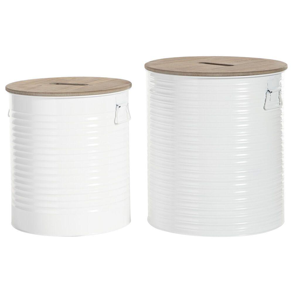 Maple and Jade Farmhouse Metal Storage Stool White Set of 2, , large