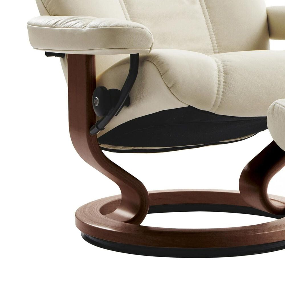 Ekornes Consul Large Chair and Ottoman with Brown Base in Batick Cream, , large