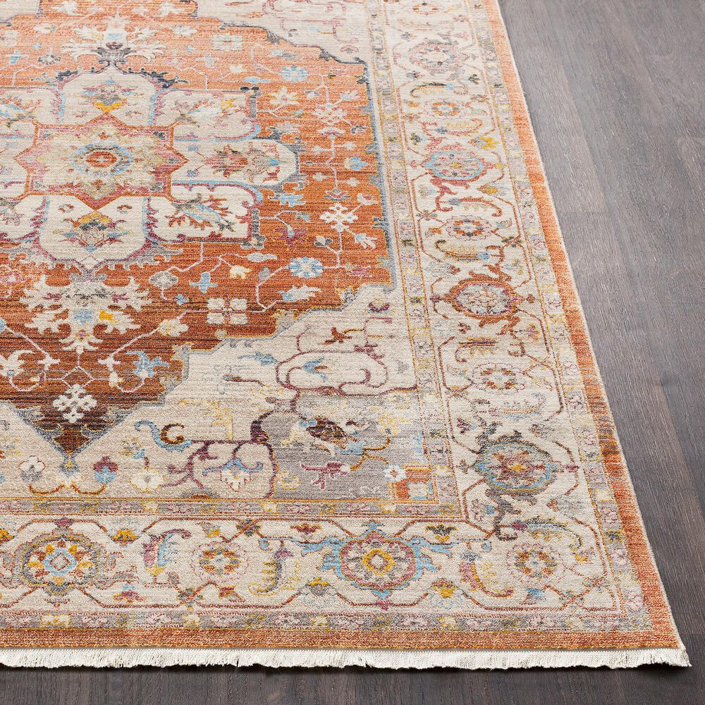 Surya Ephesians Orange, Pink, Gray, Cream, Aqua and Camel Runner, , large