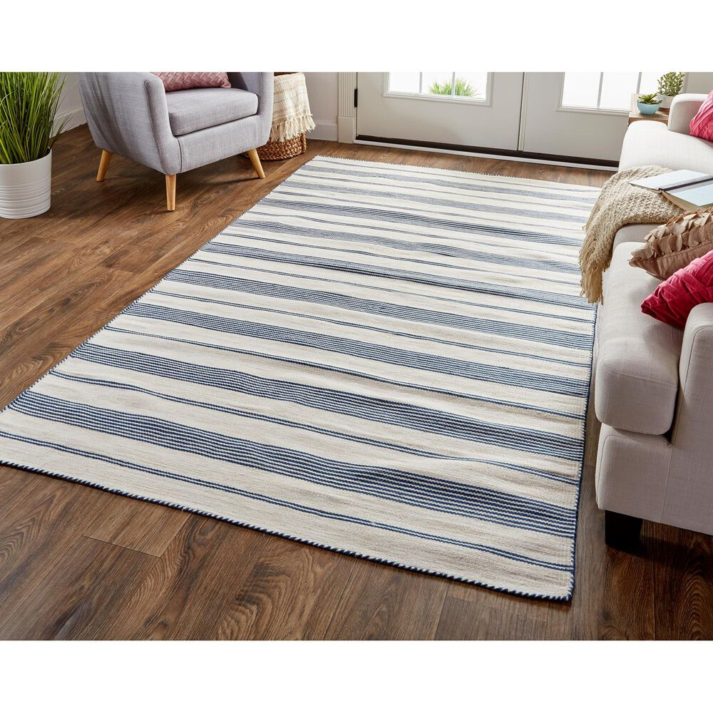 Feizy Rugs Duprine 4' x 6' Blue and Ivory Area Rug, , large