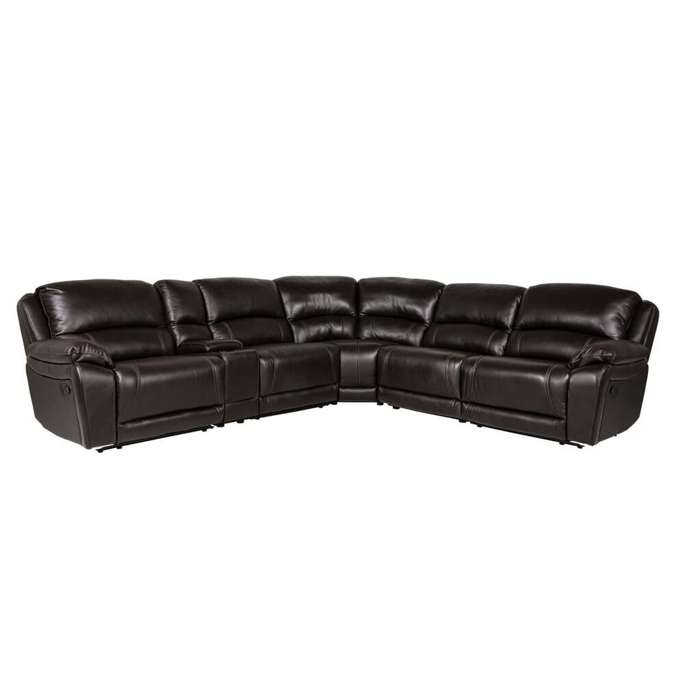 Oxford Furniture Cheers 6-Piece Leather Reclining Sectional in Walnut Brown, , large