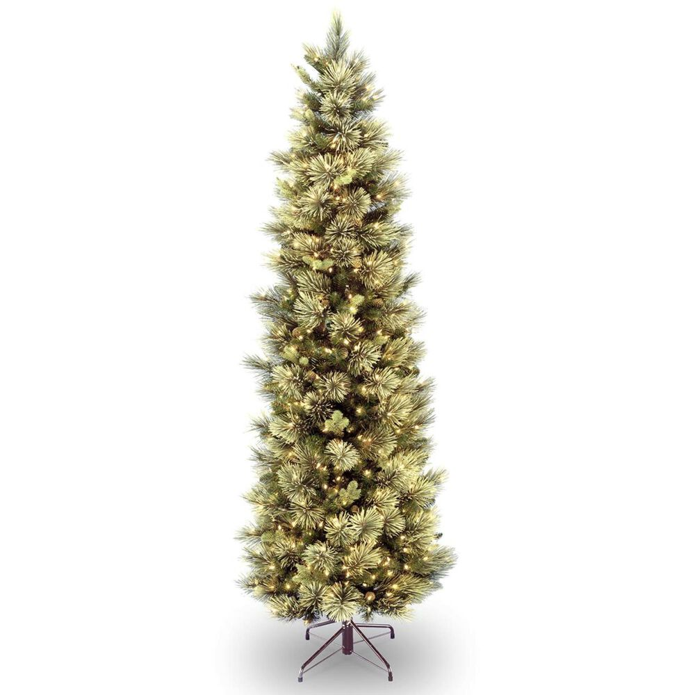 """National Tree 7"""" Pine Tree with Flocked Cones & White Lights, , large"""