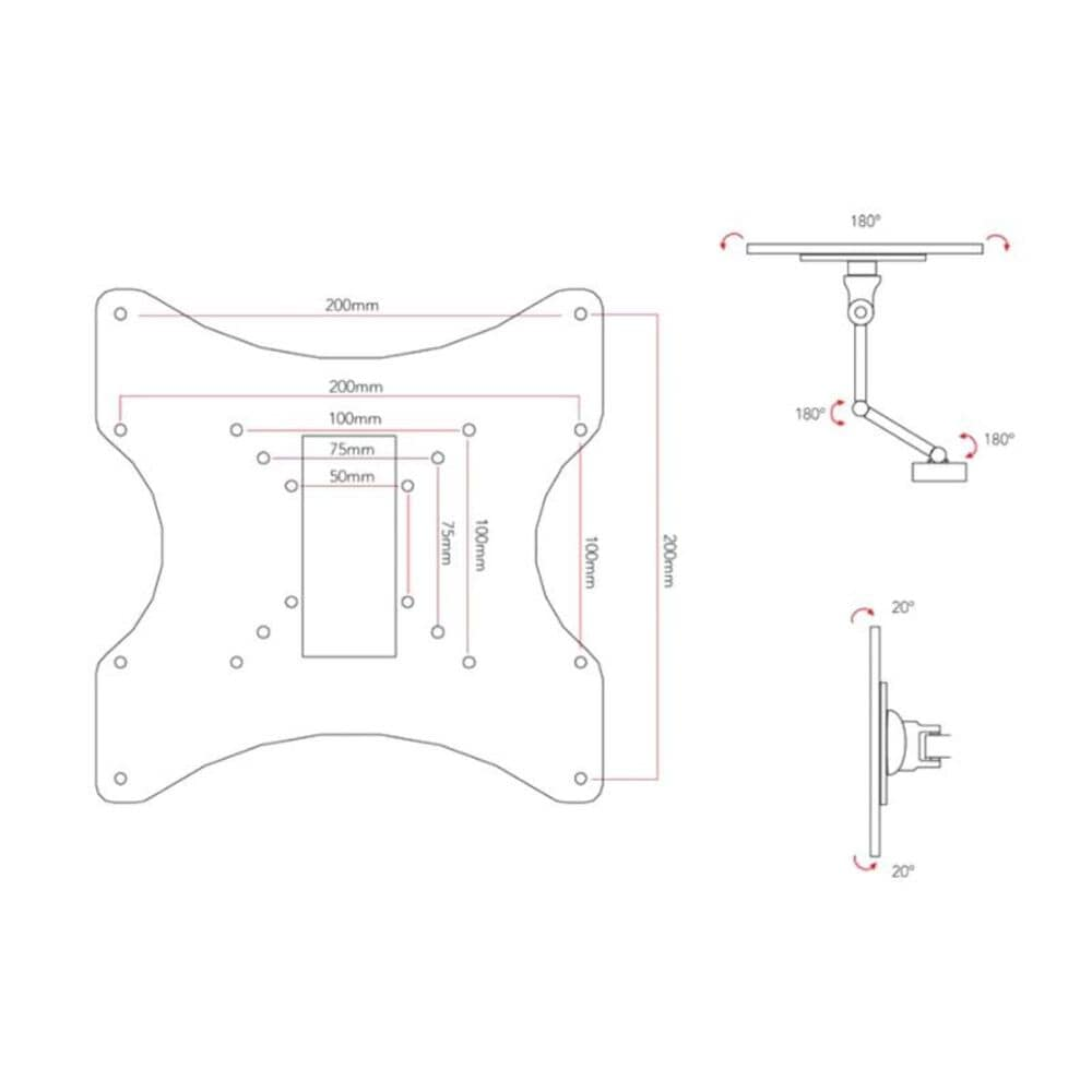 """CorLiving Full Motion Wall Mount for 10"""" - 32"""" TVs, , large"""