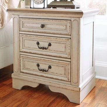 Signature Design by Ashley Realyn 3 Drawer Nightstand in Chipped White and Brown, , large