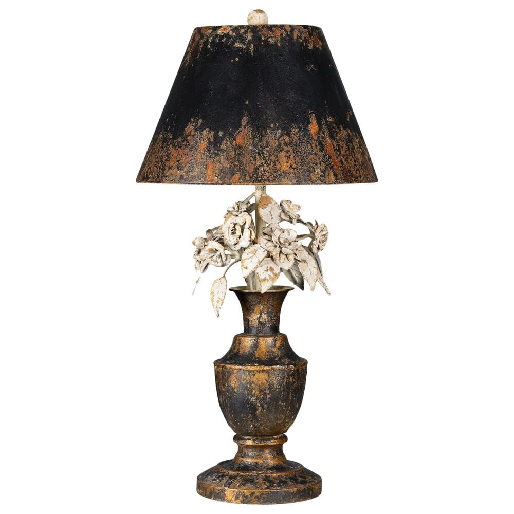 Southern Lighting Skylar Table Lamp in Distressed Black, White and Gold, , large
