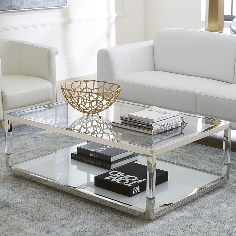 Urban Home Jasper Coffee Table in Polish Stainless Steel and Clear, , large