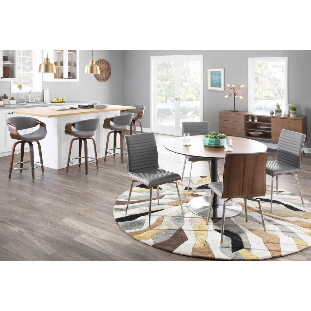 Lumisource Mason Dining Chair in Grey/Walnut/Stainless Steel (Set of 2), , large