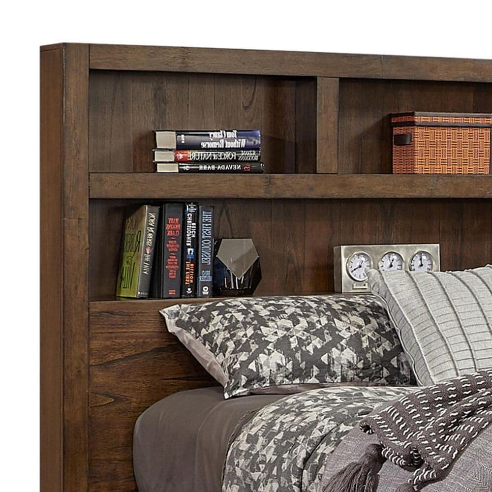 Riva Ridge Modern Loft Queen Bookcase Platform Bed in Brownstone, , large