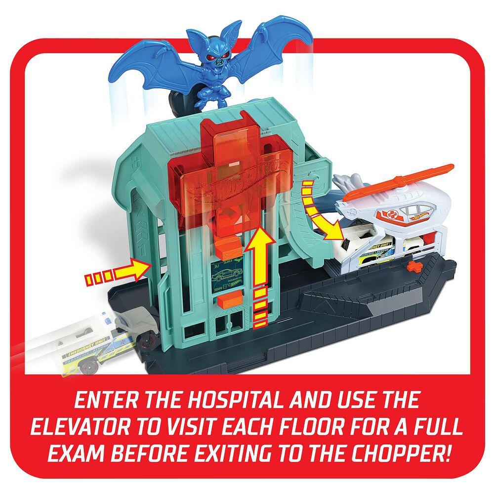 Mattel Hot Wheels City Bat Blitz Hospital Attack Playset, , large
