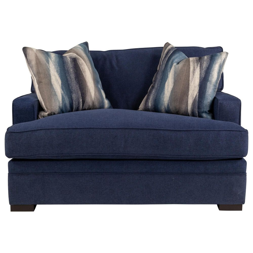 Moda Taurus Choices Chair and 1/2 in Derby Navy Blue with Pluma Plush Toss Pillows, , large