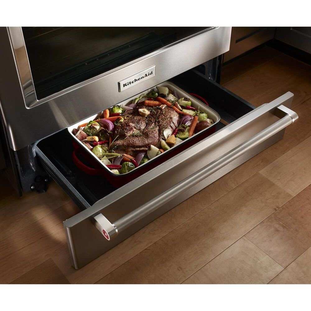 KitchenAid 30 Inch 5-Element Electric Convection Slide-In Range with Baking Drawer in Stainless Steel, , large