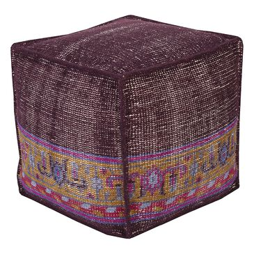 Surya Inc Zahara Cube Pouf in Purple, , large