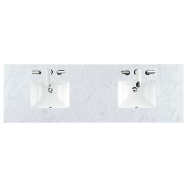 """James Martin 72"""" Double Vanity Top with Rectangle Sink in Carrara White, , large"""