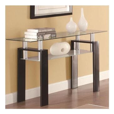 Pacific Landing Tempered Glass Sofa Table in Black, , large