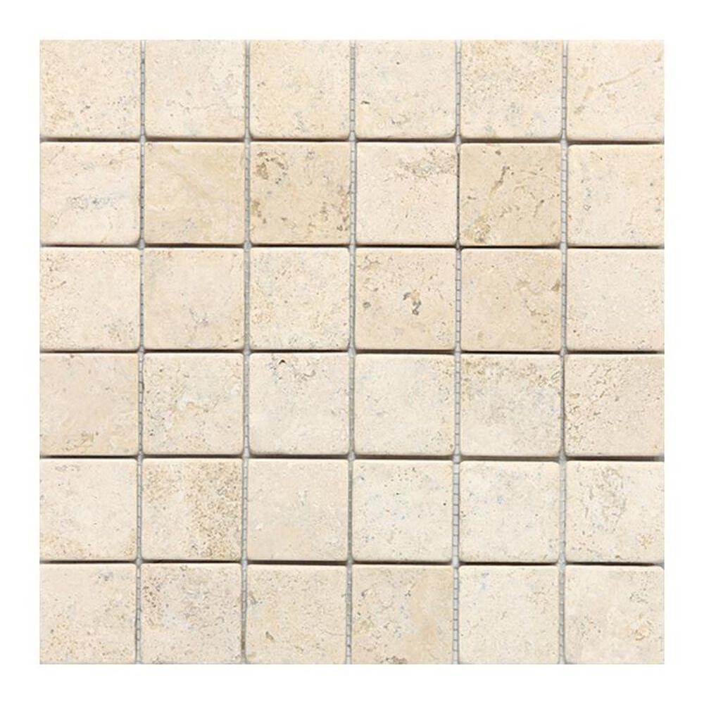 "Dal-Tile Travertine 2"" x 2"" Tumbled Mosaic Tile in Baja Cream, , large"