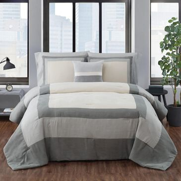 Pem America Dartford 4-Piece Full/Queen Comforter Set in Taupe and Grey, , large