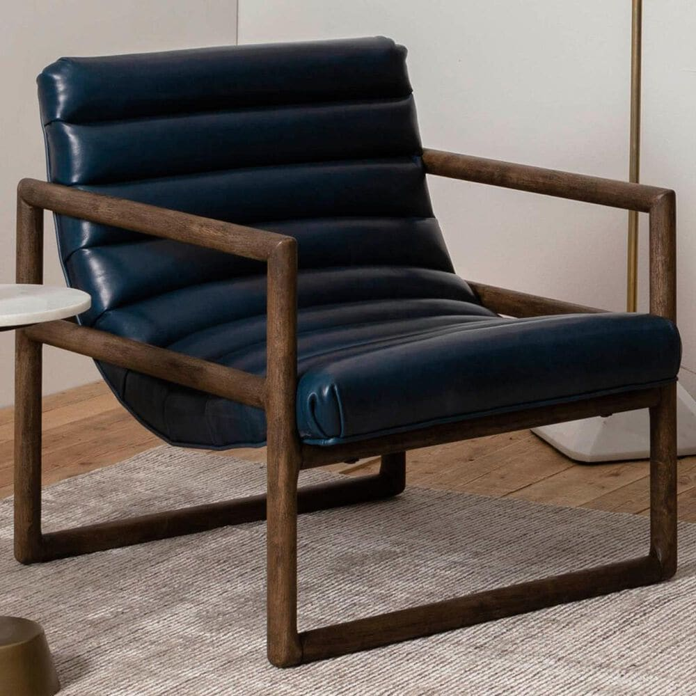 Four Hands Fitz Chair in Dakota Sapphire with Rubbed Sienna Brown Finish, , large