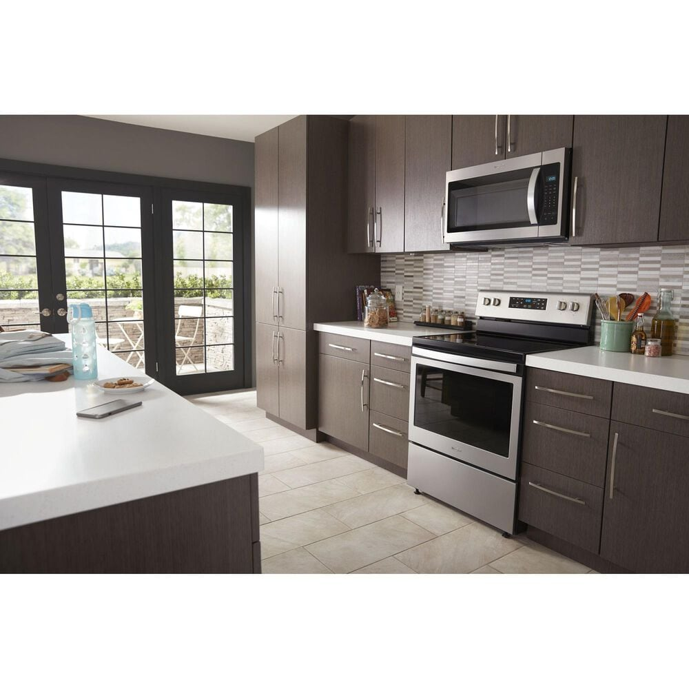 Whirlpool 2-Piece Kitchen Package with 5.3 Cu. Ft. Air Fry Electric Range and Microwave in Stainless Steel, , large
