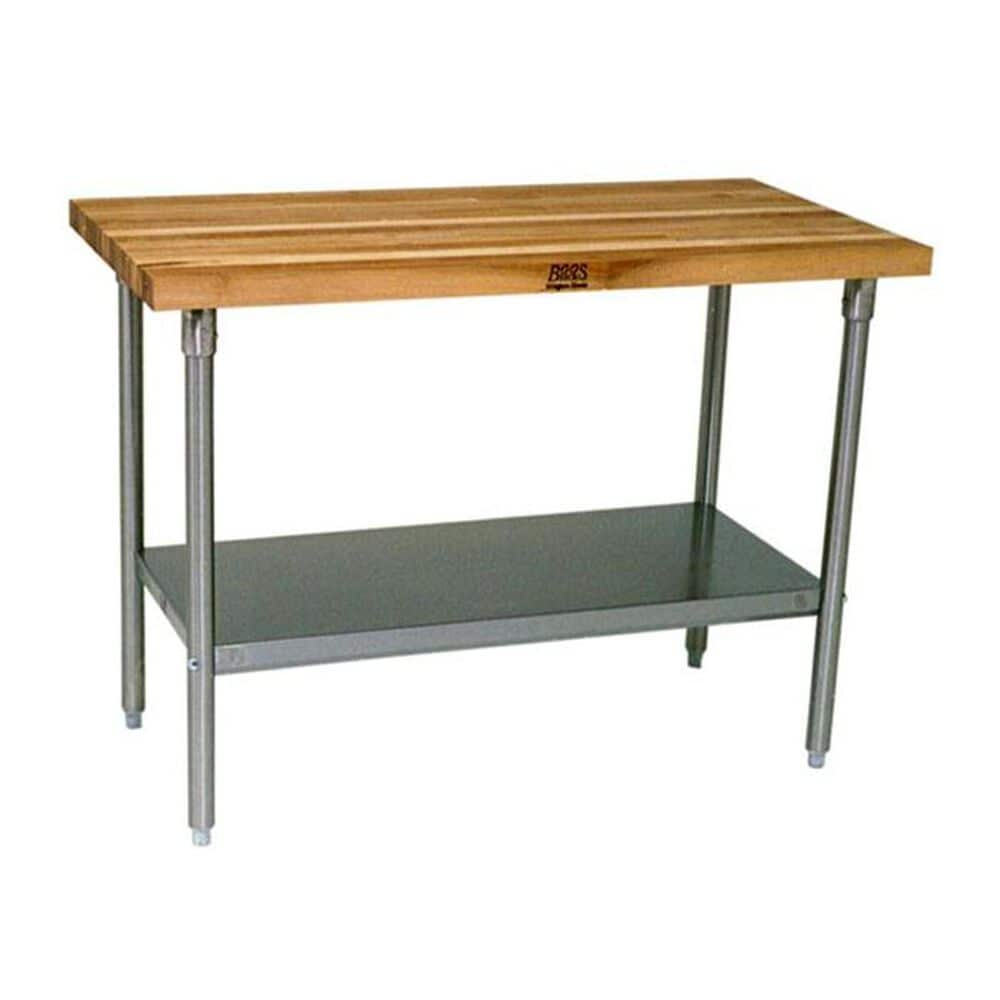 """John Boos and Co 48"""" x 24"""" Maple Top Work Table with Galvanized Base and Shelf, , large"""