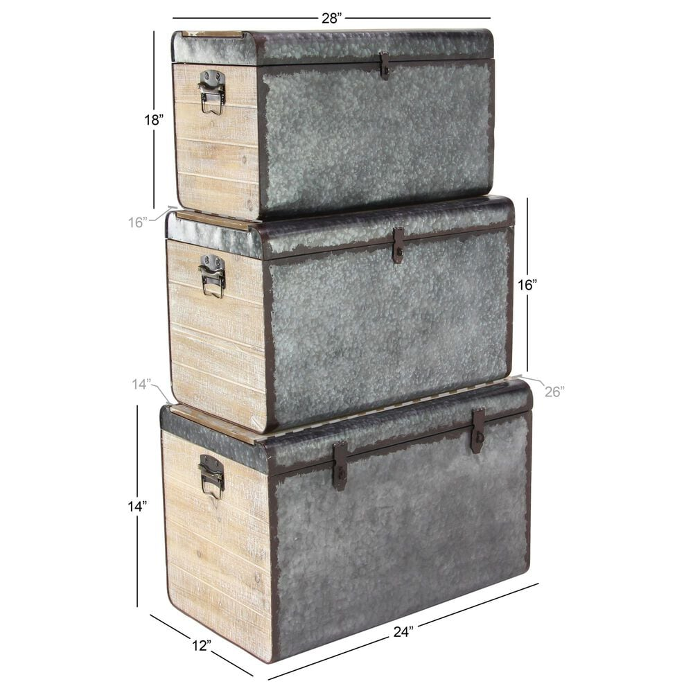 Maple and Jade Assorted Trunks in Grey (Set of 3), , large