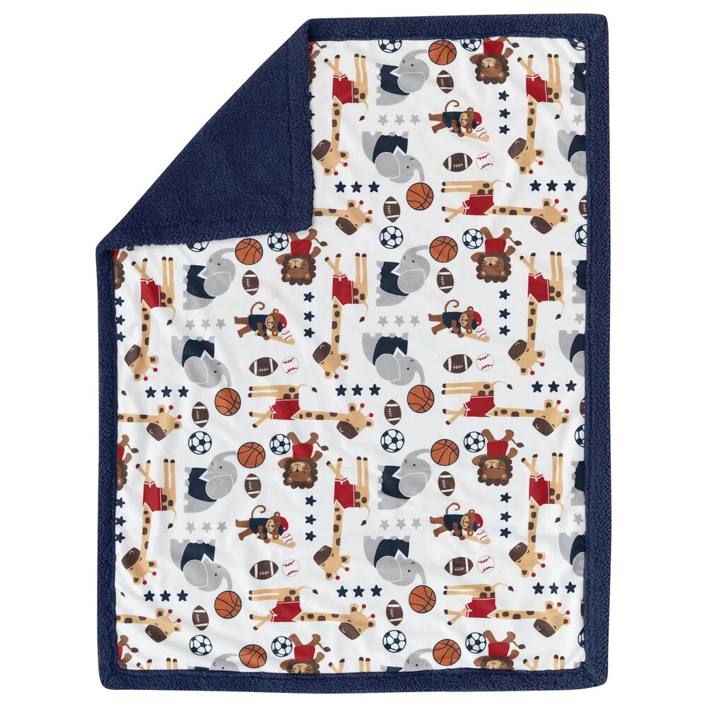 Lambs and Ivy Animal Sports Baby Blanket, , large
