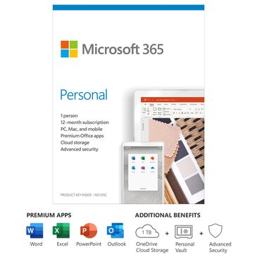Microsoft 365 Personal (12 Month Subscription)(1 Person) for Android, Chrome, Mac, Windows, iOS, , large
